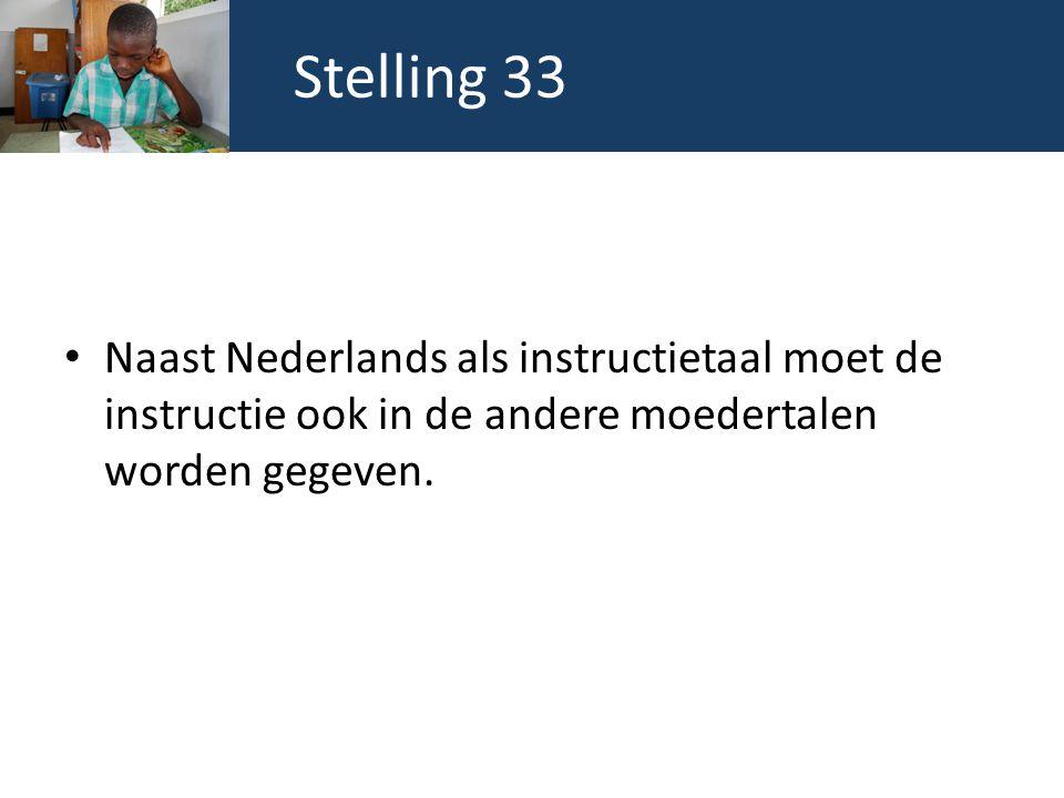 Stelling 33 Naast Nederlands als instructietaal moet de instructie ook in de andere moedertalen worden gegeven.