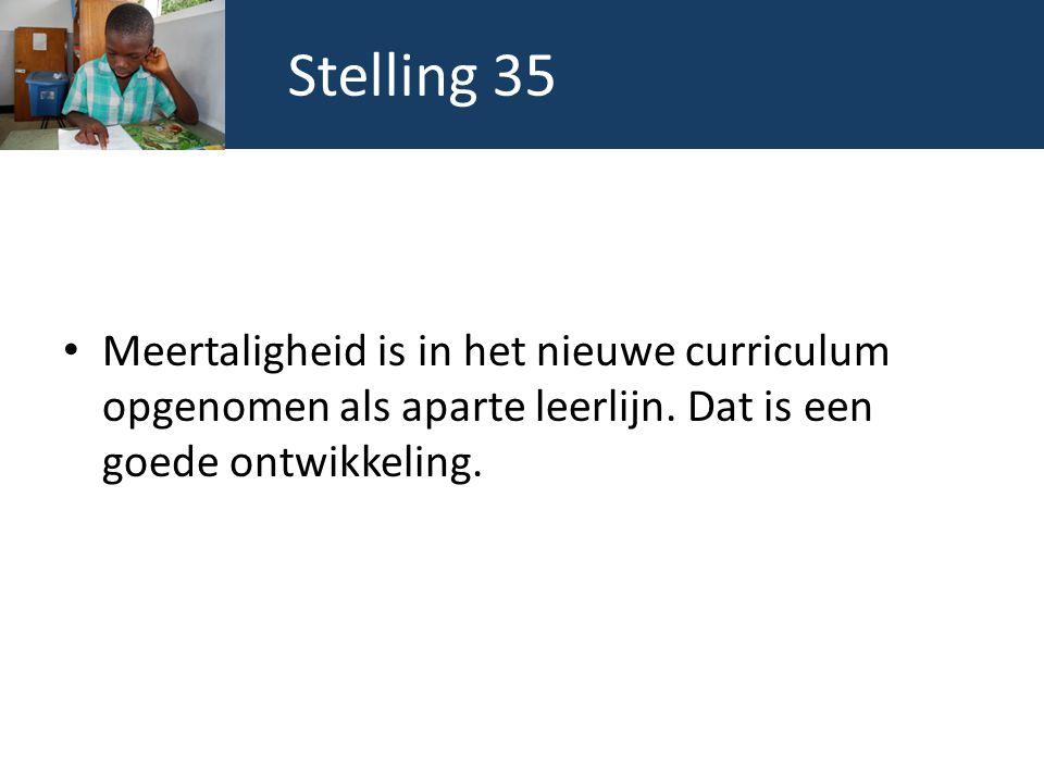 Stelling 35 Meertaligheid is in het nieuwe curriculum opgenomen als aparte leerlijn. Dat is een goede ontwikkeling.