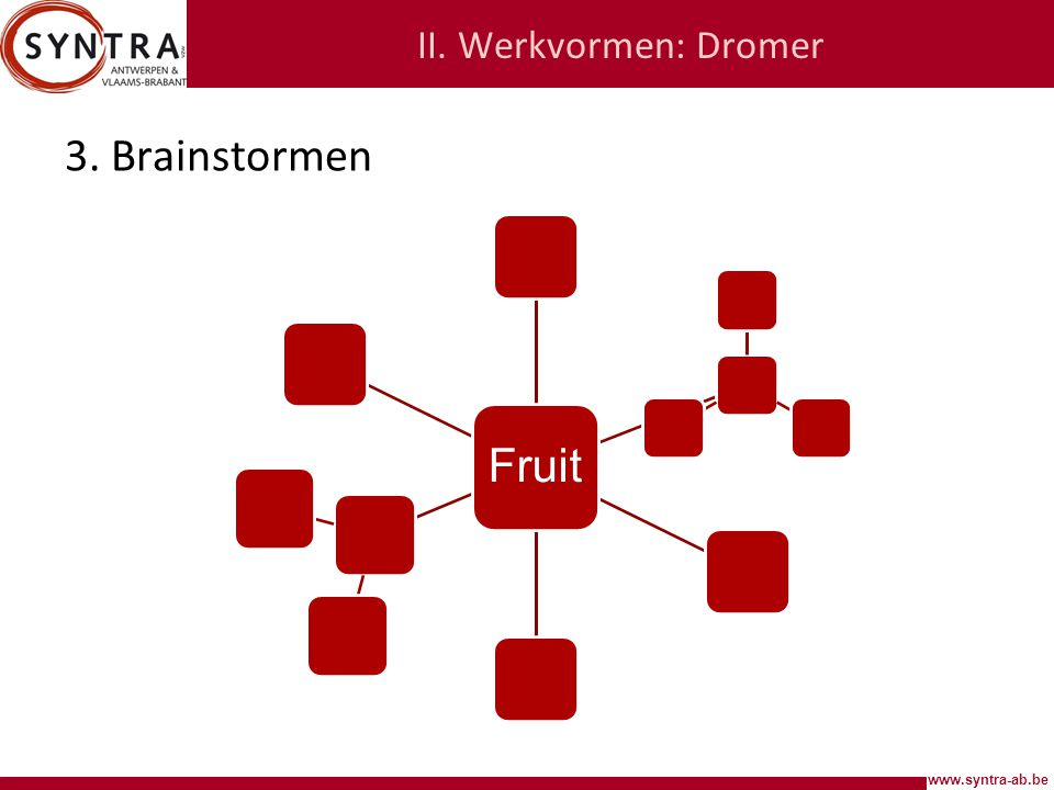www.syntra-ab.be II. Werkvormen: Dromer 3. Brainstormen Fruit