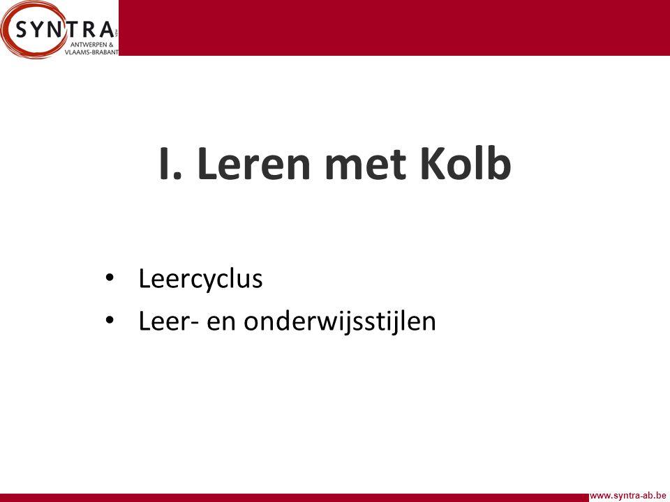 www.syntra-ab.be I.Leren met Kolb Iedereen leert anders.
