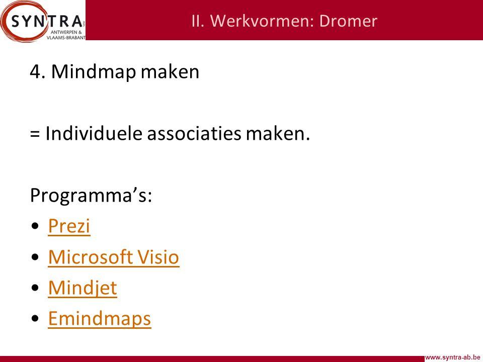 www.syntra-ab.be II.Werkvormen: Dromer 4. Mindmap maken = Individuele associaties maken.