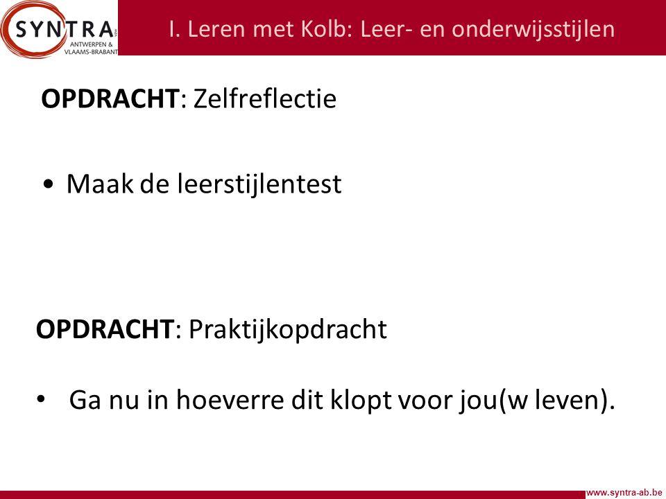 www.syntra-ab.be I. Leren met Kolb: Leercyclus