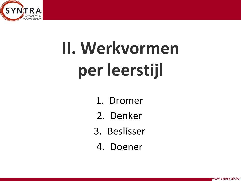 www.syntra-ab.be II. Werkvormen per leerstijl 1.Dromer 2.Denker 3.Beslisser 4.Doener