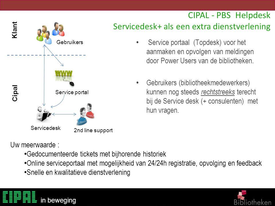 Bibliotheken in beweging CIPAL - PBS Helpdesk Servicedesk+ als een extra dienstverlening Service portaal (Topdesk) voor het aanmaken en opvolgen van m