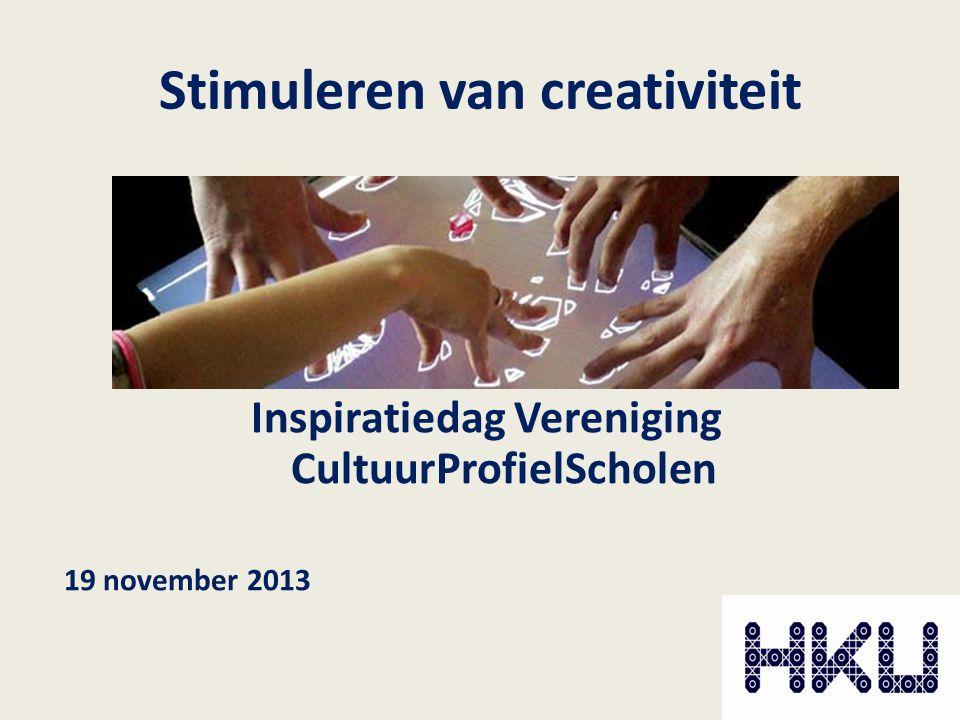 Stimuleren van creativiteit Inspiratiedag Vereniging CultuurProfielScholen 19 november 2013
