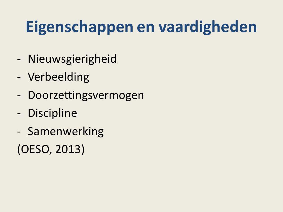 Eigenschappen en vaardigheden -Nieuwsgierigheid -Verbeelding -Doorzettingsvermogen -Discipline -Samenwerking (OESO, 2013)