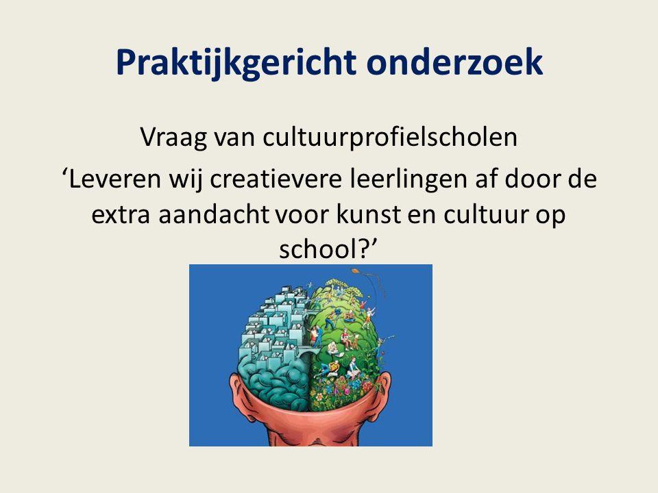 Praktijkgericht onderzoek Vraag van cultuurprofielscholen 'Leveren wij creatievere leerlingen af door de extra aandacht voor kunst en cultuur op schoo