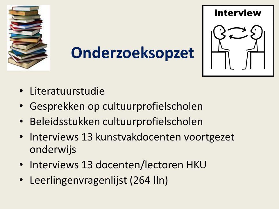 Onderzoeksopzet Literatuurstudie Gesprekken op cultuurprofielscholen Beleidsstukken cultuurprofielscholen Interviews 13 kunstvakdocenten voortgezet on