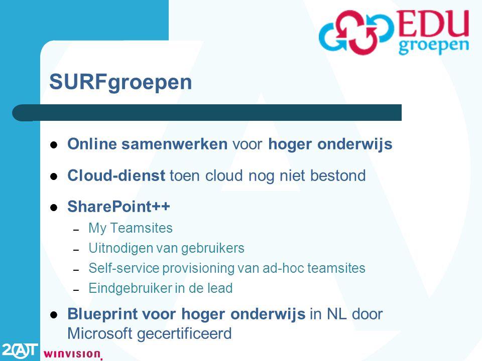 SURFgroepen Online samenwerken voor hoger onderwijs Cloud-dienst toen cloud nog niet bestond SharePoint++ – My Teamsites – Uitnodigen van gebruikers – Self-service provisioning van ad-hoc teamsites – Eindgebruiker in de lead Blueprint voor hoger onderwijs in NL door Microsoft gecertificeerd