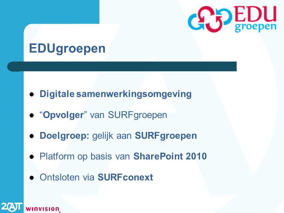 EDUgroepen Digitale samenwerkingsomgeving Opvolger van SURFgroepen Doelgroep: gelijk aan SURFgroepen Platform op basis van SharePoint 2010 Ontsloten via SURFconext
