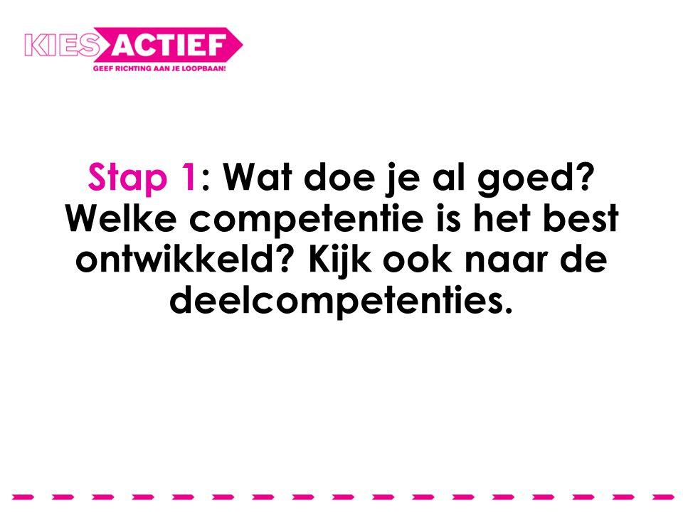Stap 1: Wat doe je al goed. Welke competentie is het best ontwikkeld.