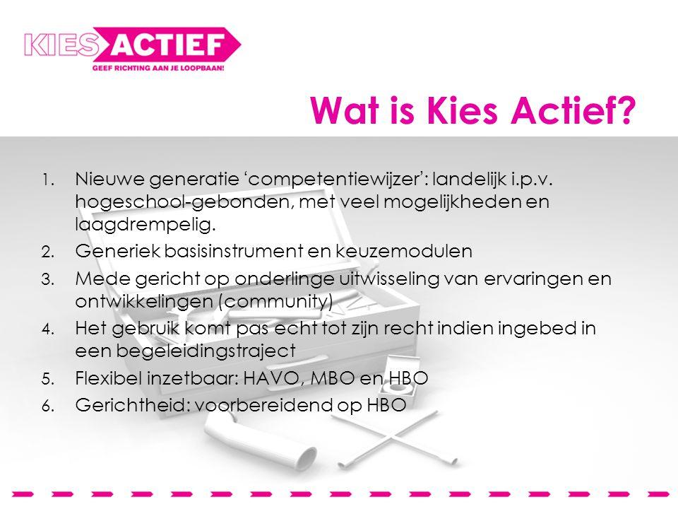 Wat is Kies Actief. 1. Nieuwe generatie 'competentiewijzer': landelijk i.p.v.