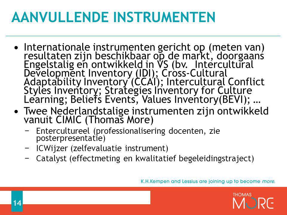 Internationale instrumenten gericht op (meten van) resultaten zijn beschikbaar op de markt, doorgaans Engelstalig en ontwikkeld in VS (bv. Intercultur