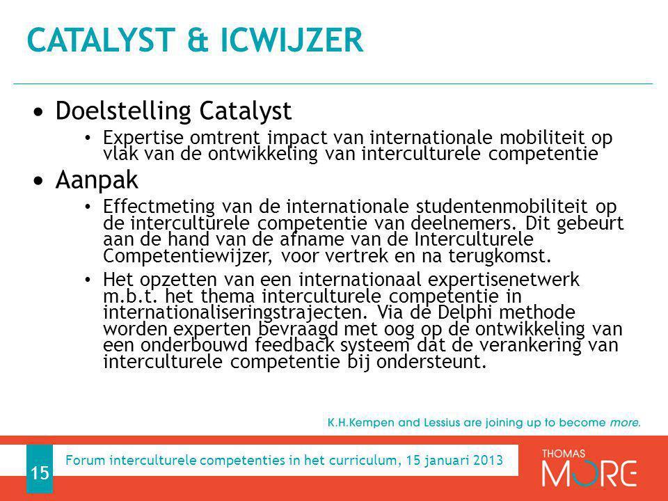 Doelstelling Catalyst Expertise omtrent impact van internationale mobiliteit op vlak van de ontwikkeling van interculturele competentie Aanpak Effectm