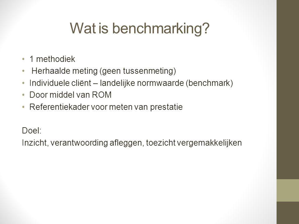 Wat is benchmarking? 1 methodiek Herhaalde meting (geen tussenmeting) Individuele cliënt – landelijke normwaarde (benchmark) Door middel van ROM Refer