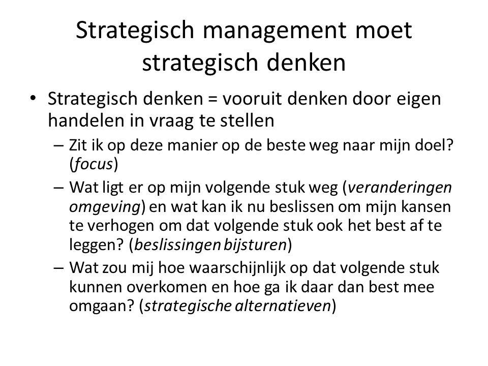 Strategisch plan Een formele denkoefening naar hoe de organisatie over de planperiode zijn objectieven het best en zekerst gaat kunnen realiseren.
