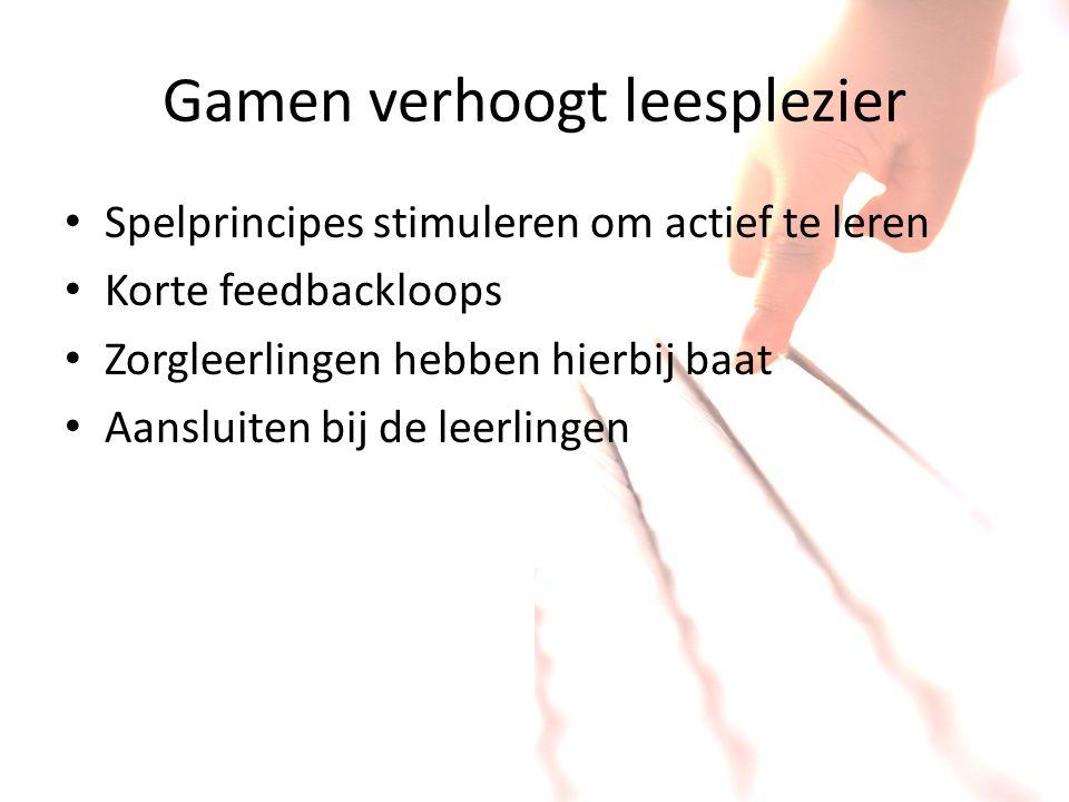 Gamen verhoogt leesplezier Spelprincipes stimuleren om actief te leren Korte feedbackloops Zorgleerlingen hebben hierbij baat Aansluiten bij de leerli