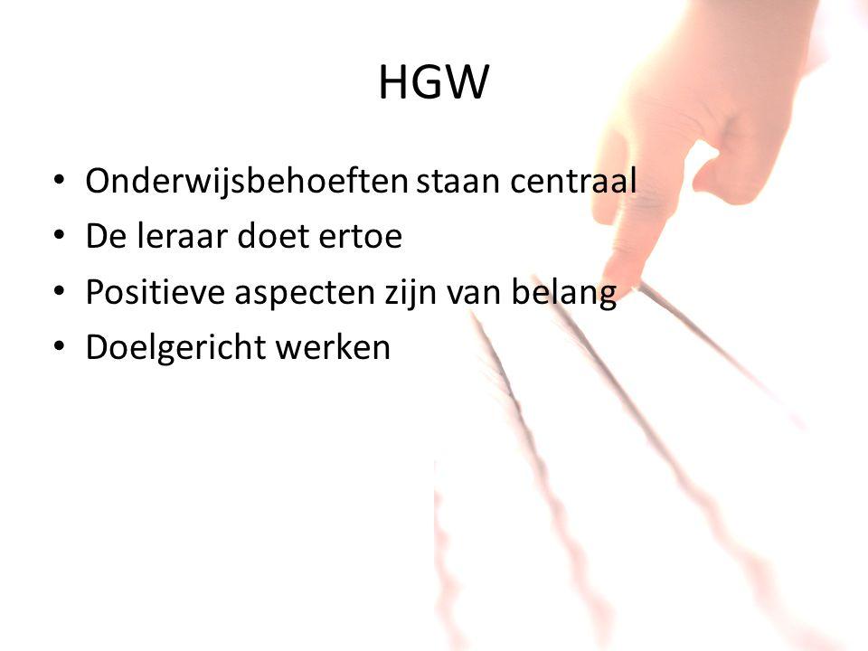 HGW Onderwijsbehoeften staan centraal De leraar doet ertoe Positieve aspecten zijn van belang Doelgericht werken