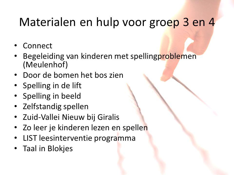 Materialen en hulp voor groep 3 en 4 Connect Begeleiding van kinderen met spellingproblemen (Meulenhof) Door de bomen het bos zien Spelling in de lift