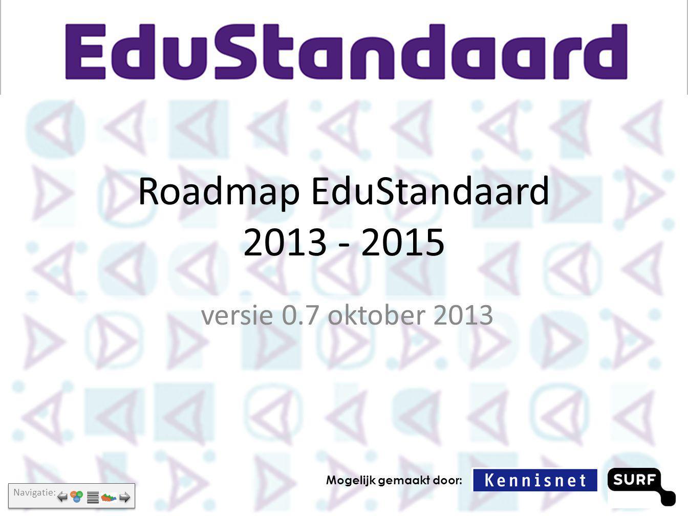 Over deze roadmap Doelgroepen: Standaardisatieraad, Architectuurraad, EduStandaard-werkgroepen Wordt elk half jaar vernieuwd, in het voorjaar en het najaar Suggesties, feedback graag melden aan Bureau EduStandaard (info@edustandaard.nl)info@edustandaard.nl Te vinden op: http://www.edustandaard.nl/architectuurraad/http://www.edustandaard.nl/architectuurraad/