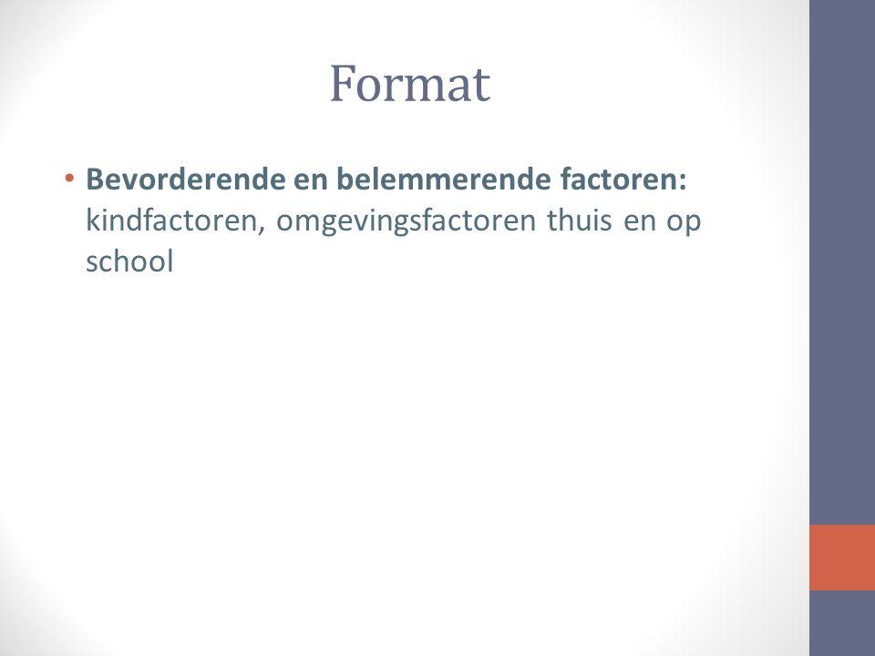 Format Bevorderende en belemmerende factoren: kindfactoren, omgevingsfactoren thuis en op school