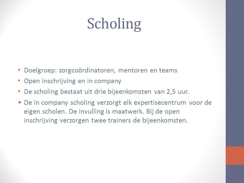 Scholing Doelgroep: zorgcoördinatoren, mentoren en teams Open inschrijving en in company De scholing bestaat uit drie bijeenkomsten van 2,5 uur.