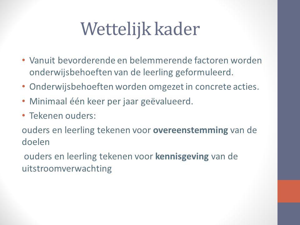 Wettelijk kader Vanuit bevorderende en belemmerende factoren worden onderwijsbehoeften van de leerling geformuleerd.