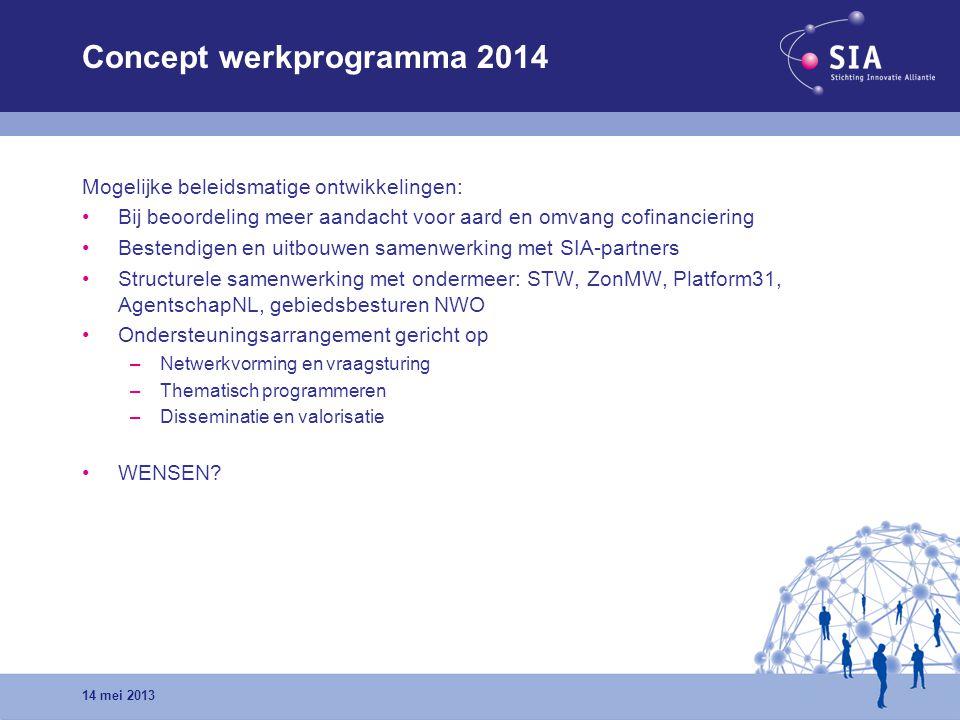 Concept werkprogramma 2014 Mogelijke beleidsmatige ontwikkelingen: Bij beoordeling meer aandacht voor aard en omvang cofinanciering Bestendigen en uit