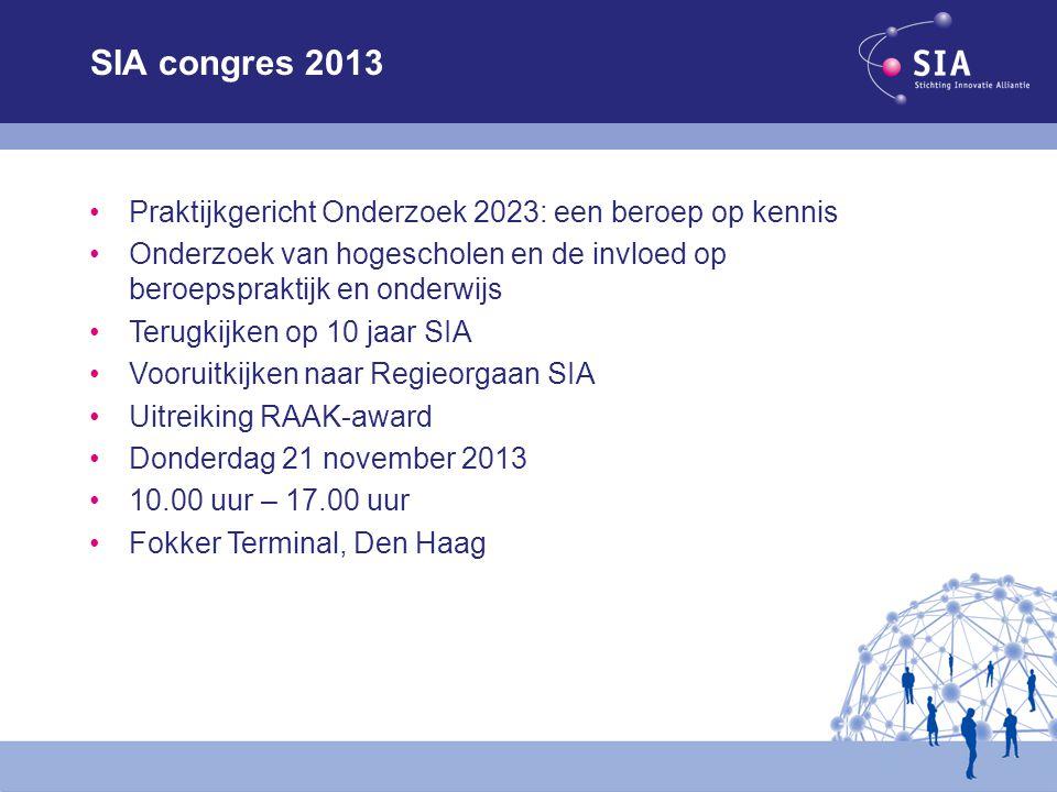 SIA congres 2013 Praktijkgericht Onderzoek 2023: een beroep op kennis Onderzoek van hogescholen en de invloed op beroepspraktijk en onderwijs Terugkij