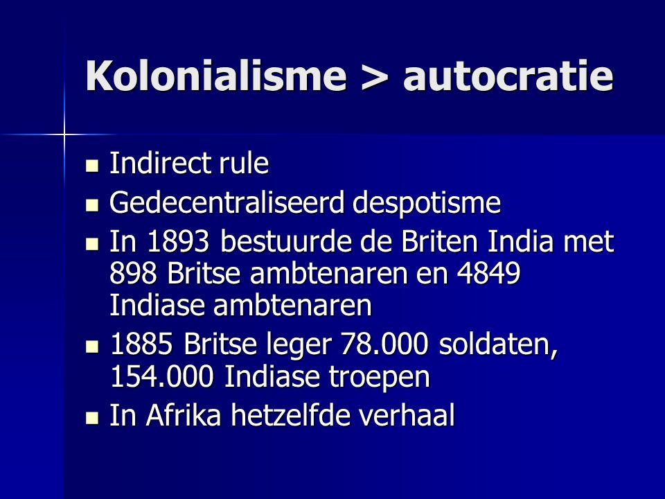 Kolonialisme > autocratie Indirect rule Indirect rule Gedecentraliseerd despotisme Gedecentraliseerd despotisme In 1893 bestuurde de Briten India met