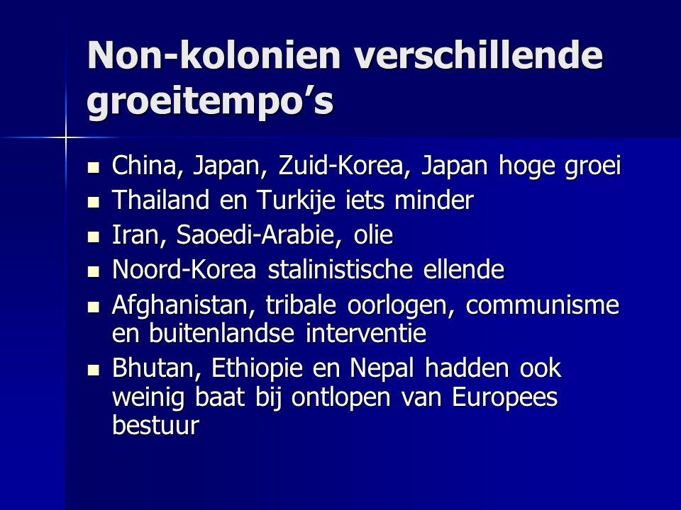 Non-kolonien verschillende groeitempo's China, Japan, Zuid-Korea, Japan hoge groei China, Japan, Zuid-Korea, Japan hoge groei Thailand en Turkije iets