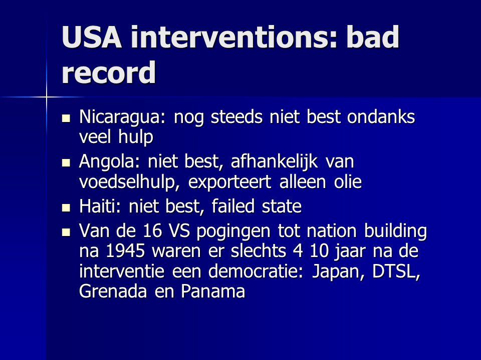 USA interventions: bad record Nicaragua: nog steeds niet best ondanks veel hulp Nicaragua: nog steeds niet best ondanks veel hulp Angola: niet best, a
