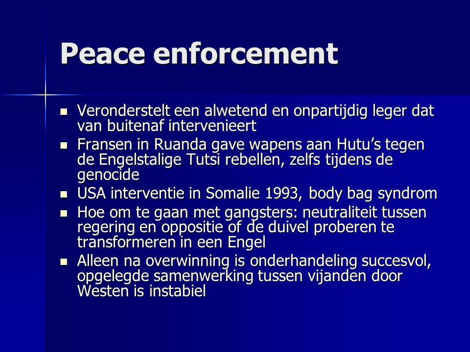 Peace enforcement Veronderstelt een alwetend en onpartijdig leger dat van buitenaf intervenieert Veronderstelt een alwetend en onpartijdig leger dat v