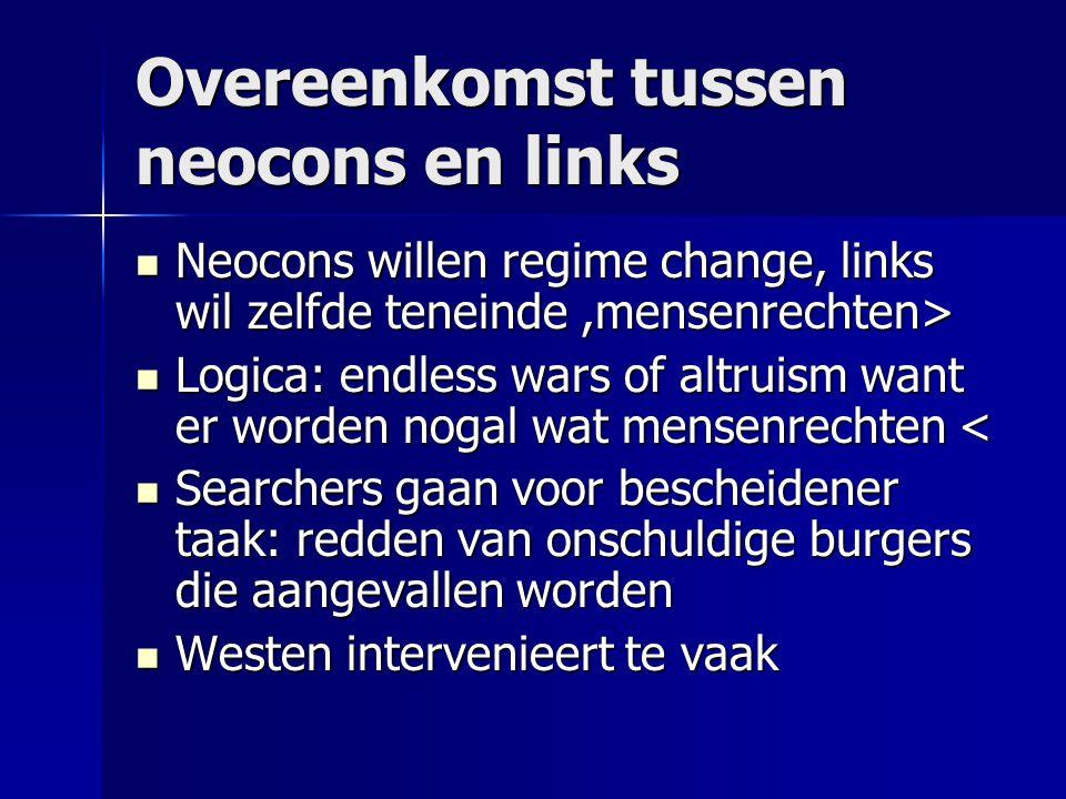 Overeenkomst tussen neocons en links Neocons willen regime change, links wil zelfde teneinde,mensenrechten> Neocons willen regime change, links wil ze