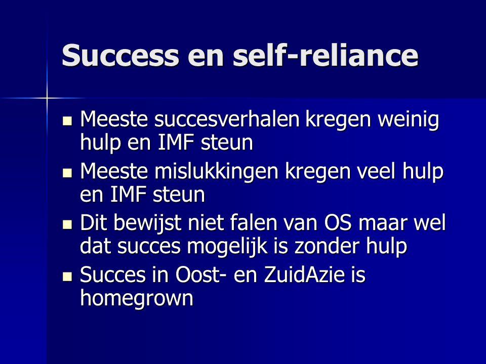 Success en self-reliance Meeste succesverhalen kregen weinig hulp en IMF steun Meeste succesverhalen kregen weinig hulp en IMF steun Meeste mislukking
