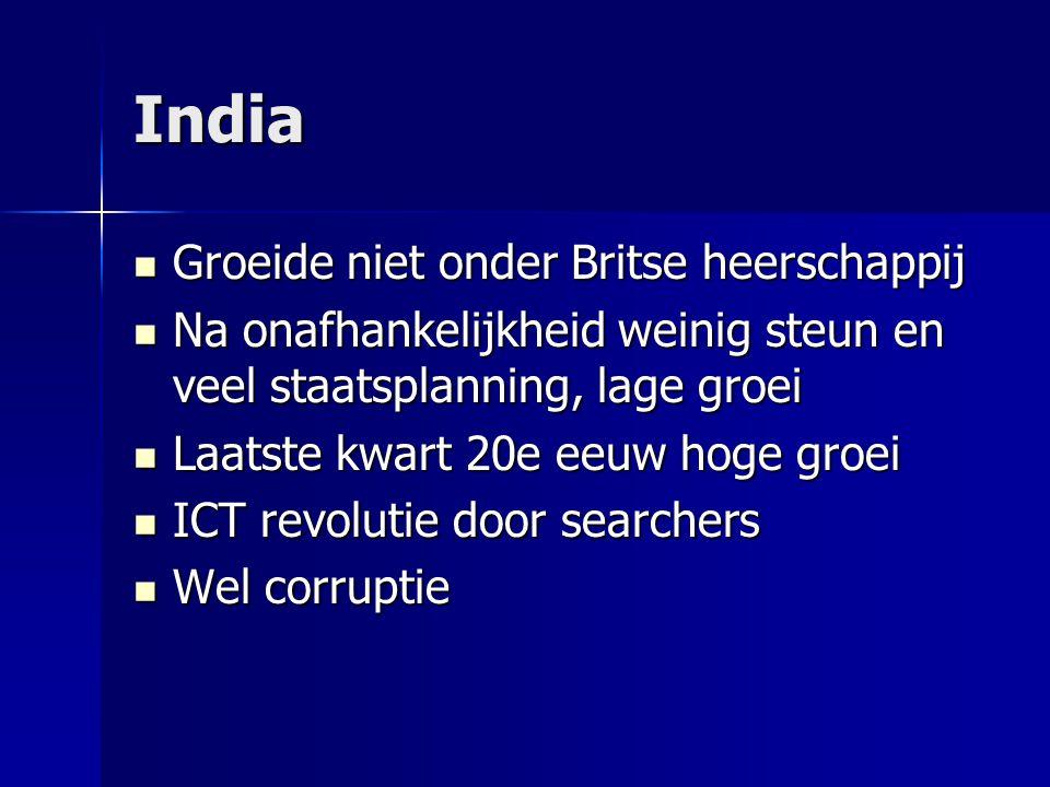India Groeide niet onder Britse heerschappij Groeide niet onder Britse heerschappij Na onafhankelijkheid weinig steun en veel staatsplanning, lage gro