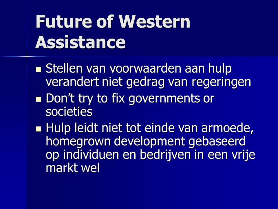 Future of Western Assistance Stellen van voorwaarden aan hulp verandert niet gedrag van regeringen Stellen van voorwaarden aan hulp verandert niet ged