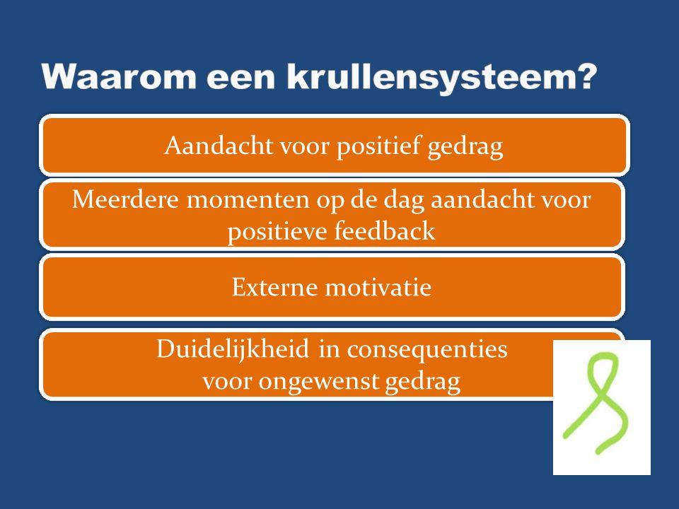 Aandacht voor positief gedrag Meerdere momenten op de dag aandacht voor positieve feedback Externe motivatie Duidelijkheid in consequenties voor ongew