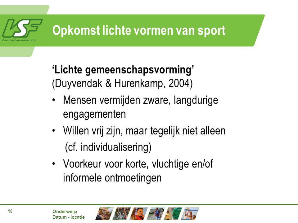 Onderwerp Datum - locatie 10 Opkomst lichte vormen van sport 'Lichte gemeenschapsvorming' (Duyvendak & Hurenkamp, 2004) Mensen vermijden zware, langdurige engagementen Willen vrij zijn, maar tegelijk niet alleen (cf.