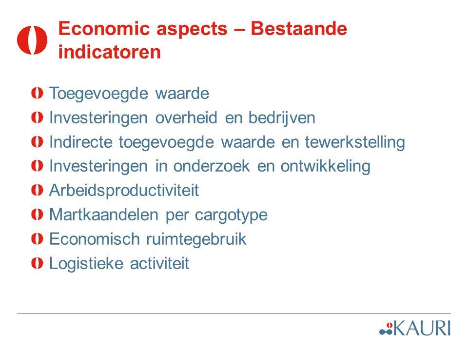 Economic aspects – Bestaande indicatoren Toegevoegde waarde Investeringen overheid en bedrijven Indirecte toegevoegde waarde en tewerkstelling Investe
