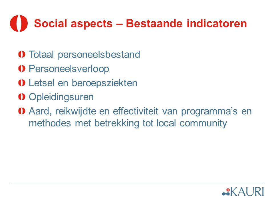 Social aspects – Bestaande indicatoren Totaal personeelsbestand Personeelsverloop Letsel en beroepsziekten Opleidingsuren Aard, reikwijdte en effectiviteit van programma's en methodes met betrekking tot local community