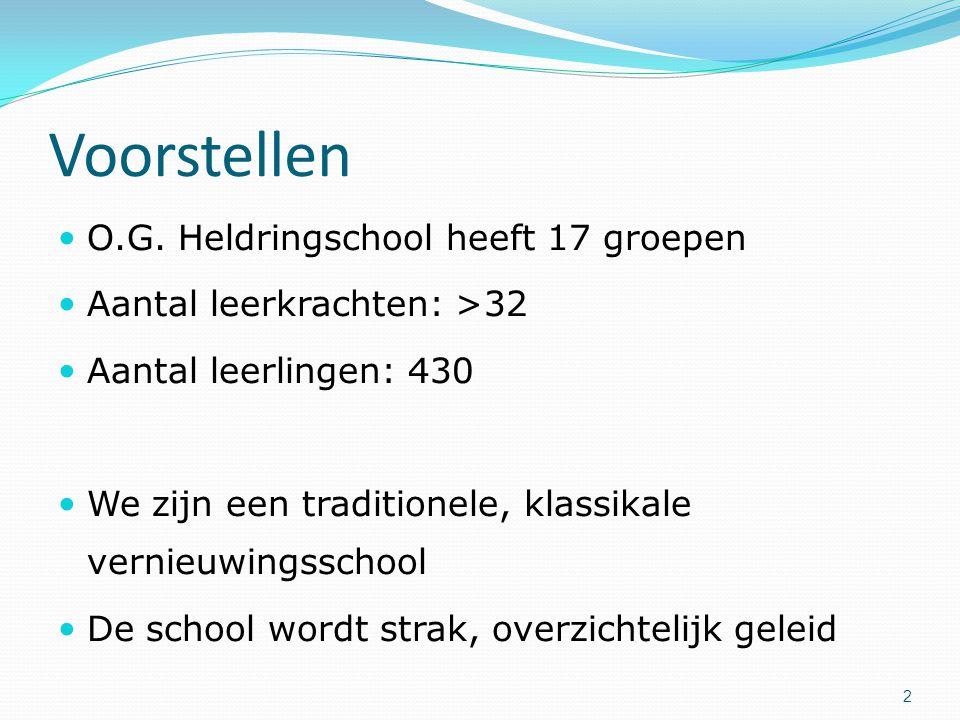 Voorstellen O.G. Heldringschool heeft 17 groepen Aantal leerkrachten: >32 Aantal leerlingen: 430 We zijn een traditionele, klassikale vernieuwingsscho