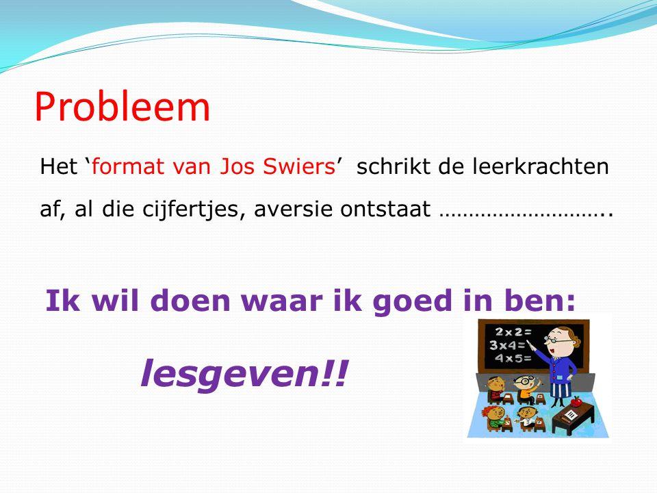 Probleem Het 'format van Jos Swiers' schrikt de leerkrachten af, al die cijfertjes, aversie ontstaat ……………………….. Ik wil doen waar ik goed in ben: lesg
