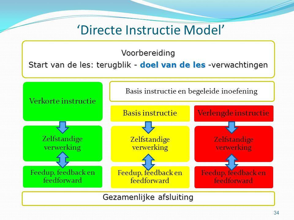 'Directe Instructie Model' 34 Voorbereiding Start van de les: terugblik - doel van de les -verwachtingen Verkorte instructie Zelfstandige verwerking F