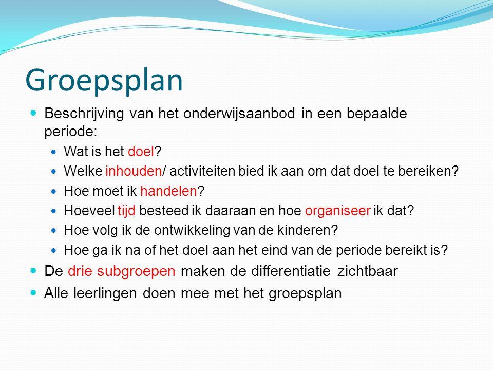 Groepsplan Beschrijving van het onderwijsaanbod in een bepaalde periode: Wat is het doel? Welke inhouden/ activiteiten bied ik aan om dat doel te bere