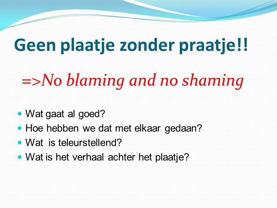 Geen plaatje zonder praatje!! = >No blaming and no shaming Wat gaat al goed? Hoe hebben we dat met elkaar gedaan? Wat is teleurstellend? Wat is het ve
