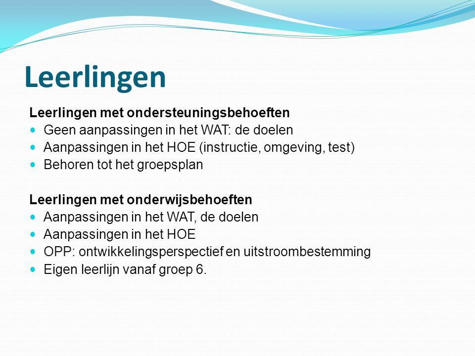 Leerlingen Leerlingen met ondersteuningsbehoeften Geen aanpassingen in het WAT: de doelen Aanpassingen in het HOE (instructie, omgeving, test) Behoren