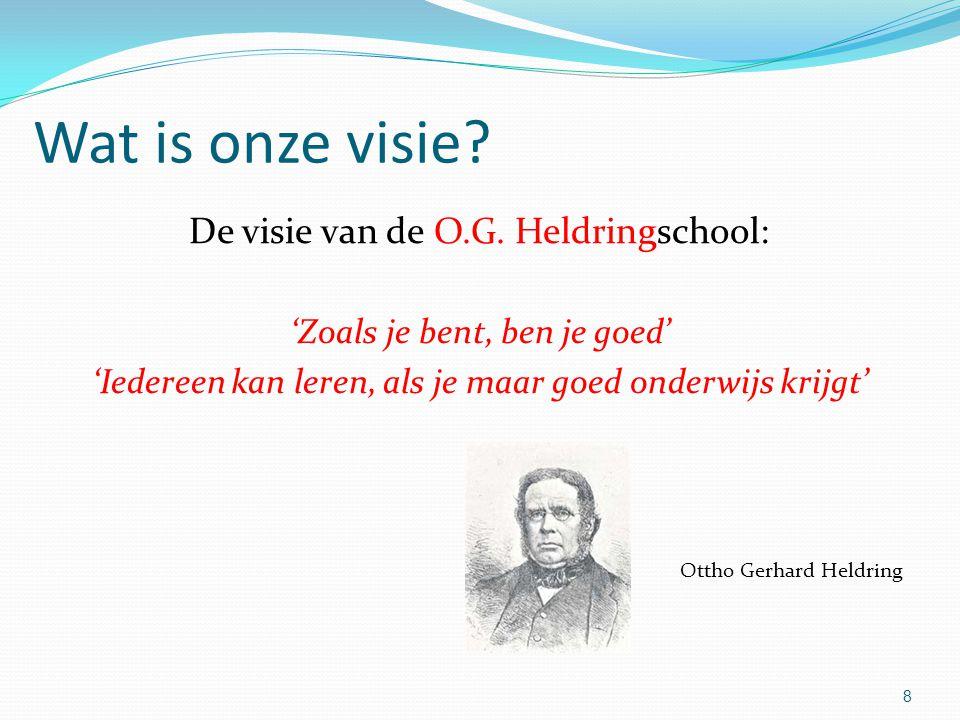 Wat is onze visie? De visie van de O.G. Heldringschool: 'Zoals je bent, ben je goed' 'Iedereen kan leren, als je maar goed onderwijs krijgt' Ottho Ger
