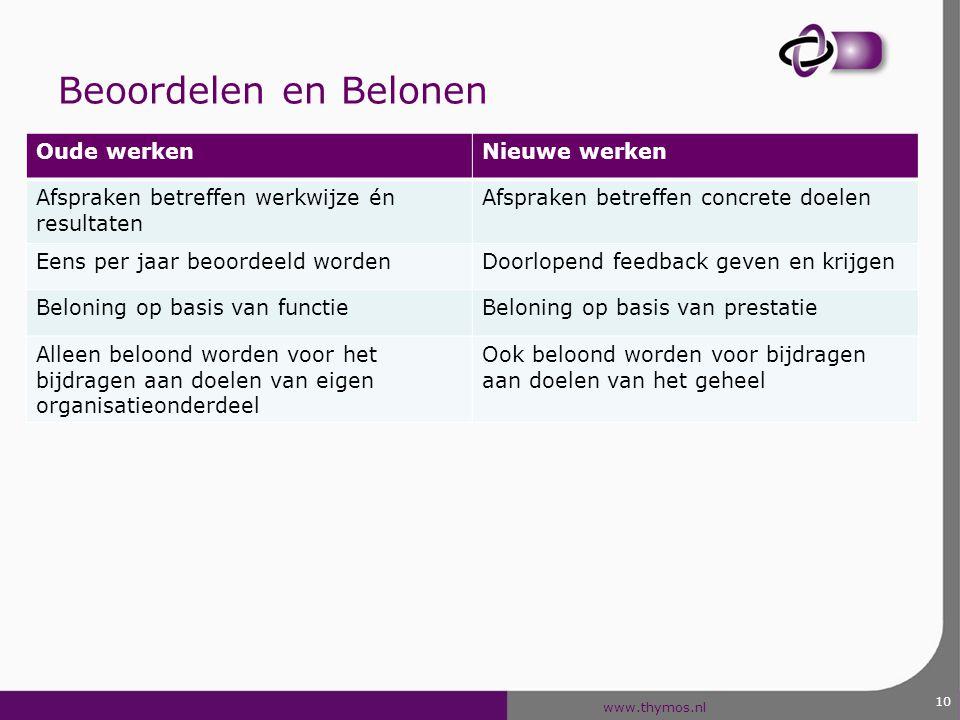 www.thymos.nl 10 Beoordelen en Belonen Oude werkenNieuwe werken Afspraken betreffen werkwijze én resultaten Afspraken betreffen concrete doelen Eens p