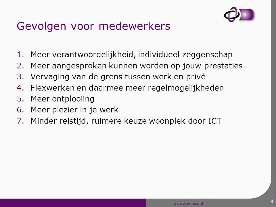 www.thymos.nl 14 Gevolgen voor medewerkers 1.Meer verantwoordelijkheid, individueel zeggenschap 2.Meer aangesproken kunnen worden op jouw prestaties 3